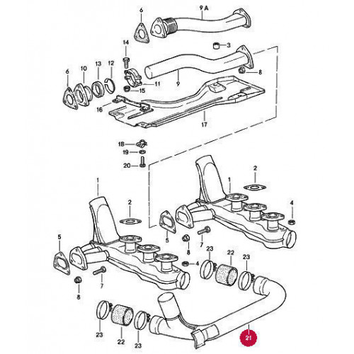 Porsche 911 3 2 Engine Crossover Pipe 93021133500