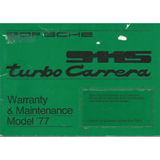 Porsche 911S Turbo Owners Carrera Warranty & Mainenance Manual 1977 WKD431223