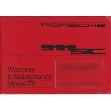 Porsche 911SC Owners Warranty Maintenance Manual 1978 WKD431523