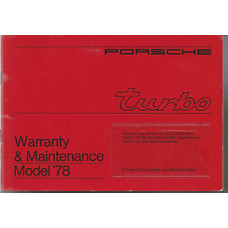 Porsche 930 Owners Turbo Warranty & Maintenance Manual 1978 WKD431623