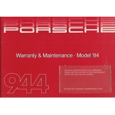 Porsche 944 Owners Warranty & Maintenance Model 1984 WKD434023