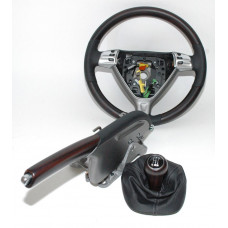 Porsche 987 Steering Wheel Hand Brake 5 Speed Shifter Macassar Wood Black