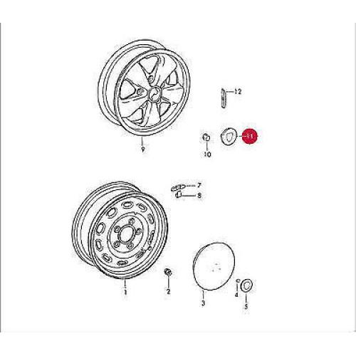 porsche 911 fuchs wheel cap silver 91136103200