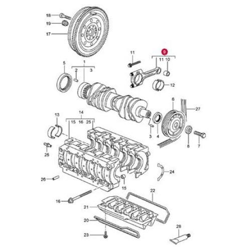 porsche 996 engine connecting rod set 99610397502